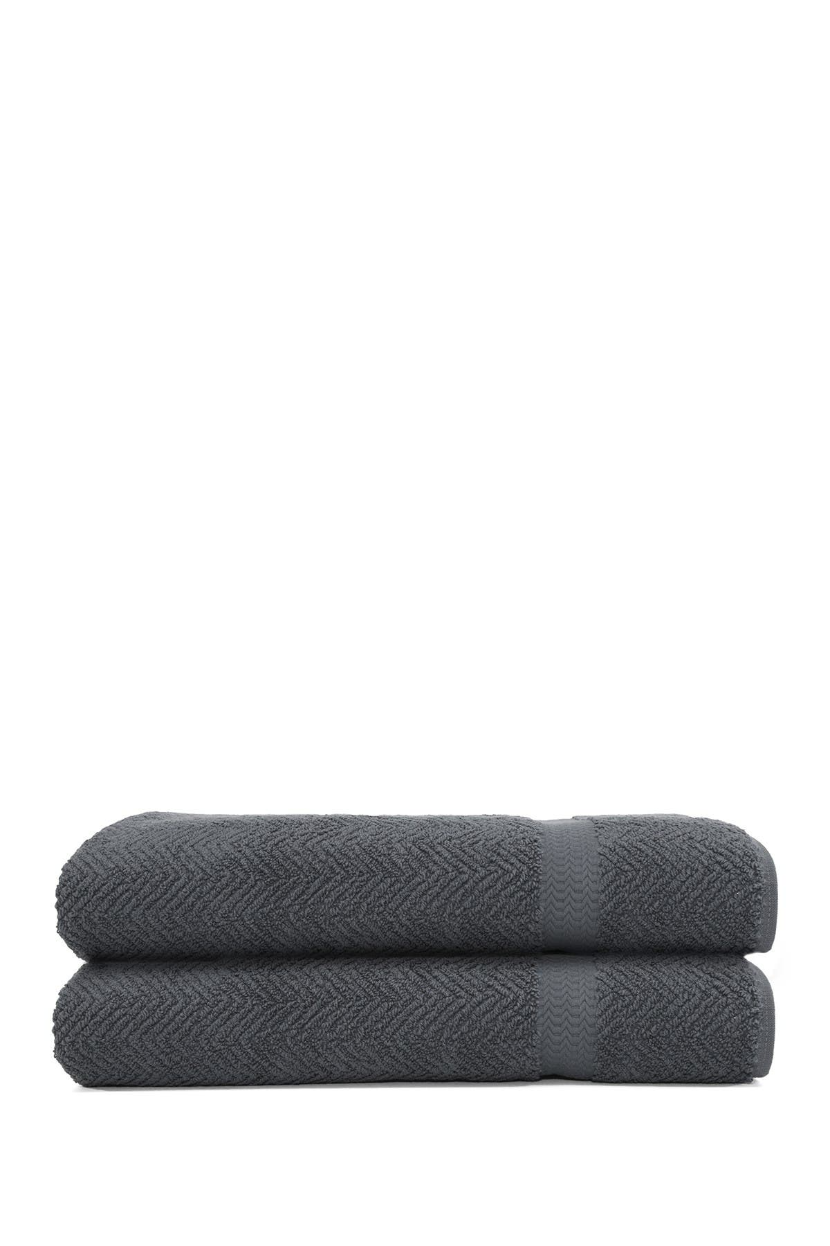 Image of LINUM TOWELS Grey Herringbone Bath Sheet - Set of 2