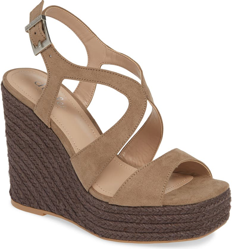 CHARLES BY CHARLES DAVID Damon Platform Wedge Sandal, Main, color, TAUPE FABRIC