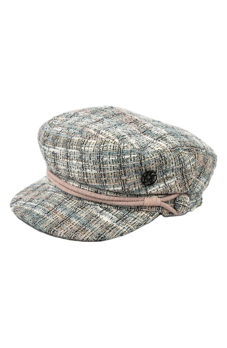 MAISON MICHEL Abby Metallic Tweed Baker Boy Cap, Main, color, MULTI
