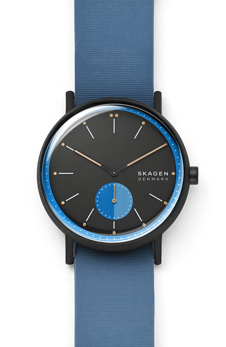 SKAGEN Signature Nylon Strap Watch, 42mm, Main, color, BLUE/ BLACK