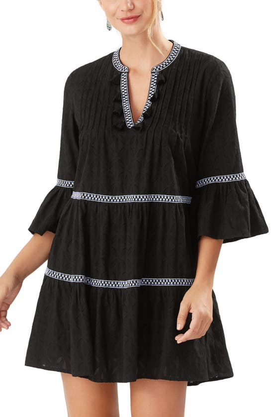 Tommy Bahama EMBROIDERED COTTON TIER COVER-UP DRESS