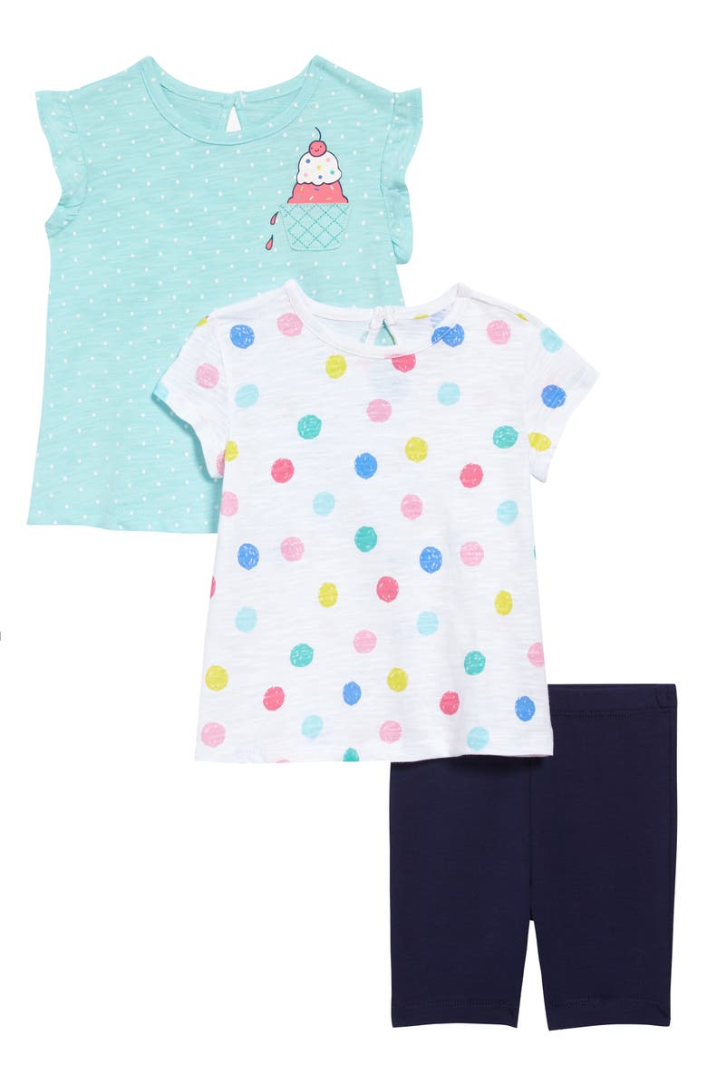 LITTLE ME Ice Cream Tops & Shorts Set, Main, color, MULTI