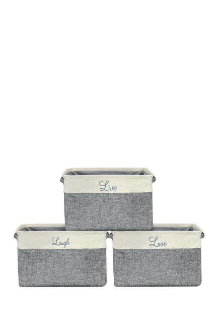 Image of Sorbus Cream Twill Storage Basket - Set of 3