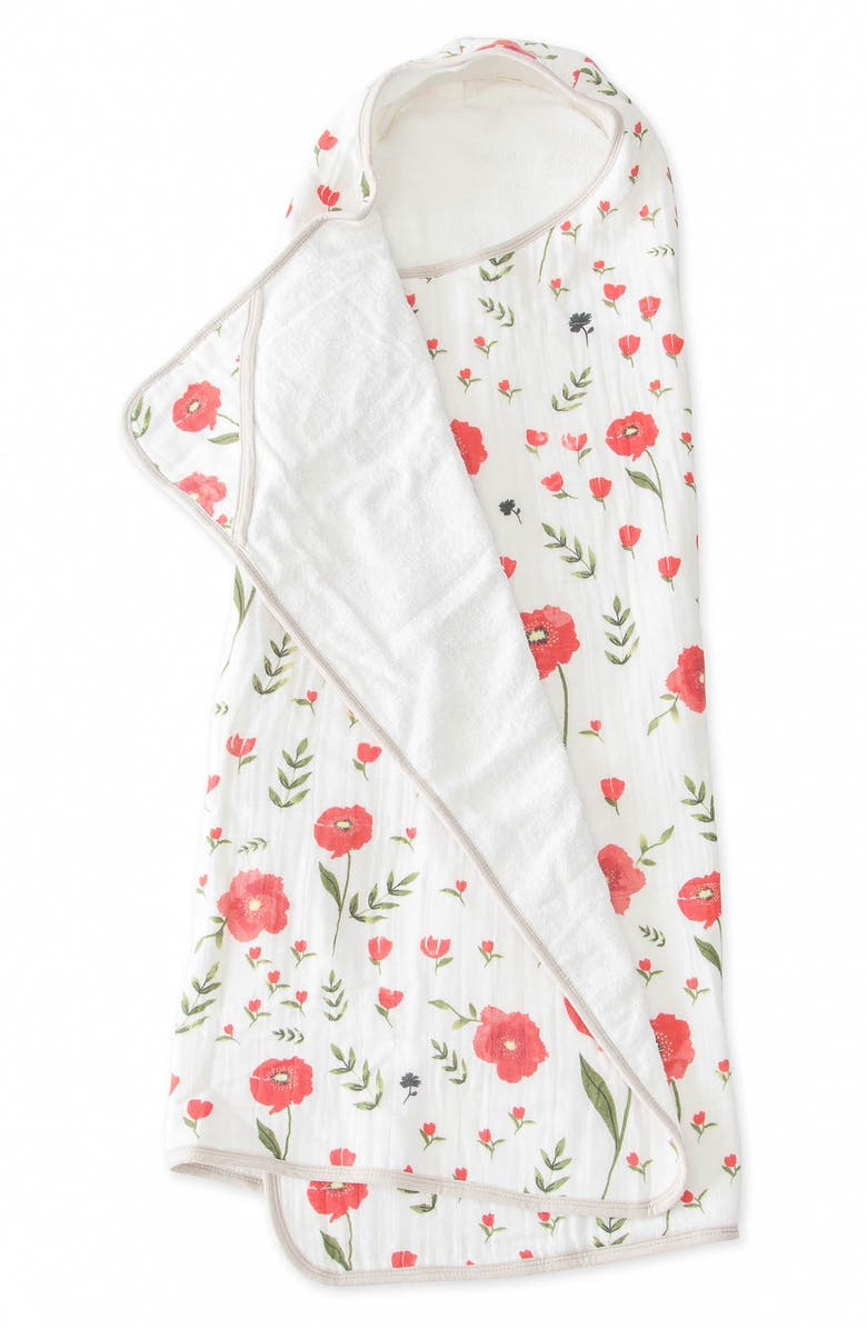 LITTLE UNICORN Hooded Towel, Main, color, SUMMER POPPY