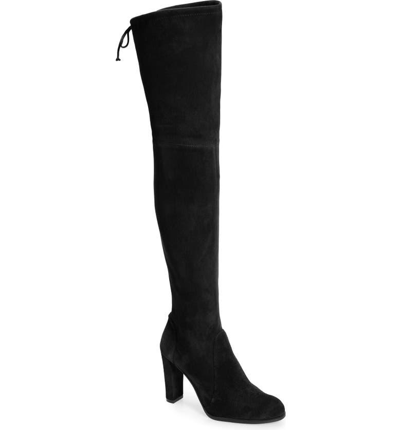 STUART WEITZMAN Highstreet Over The Knee Boot, Main, color, BLACK SUEDE