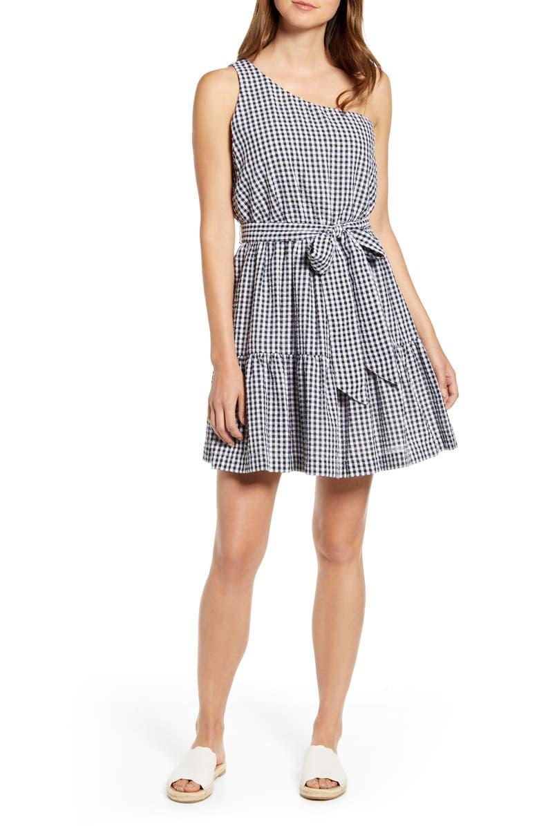 VINEYARD VINES Gingham One-Shoulder Minidress, Main, color, 002