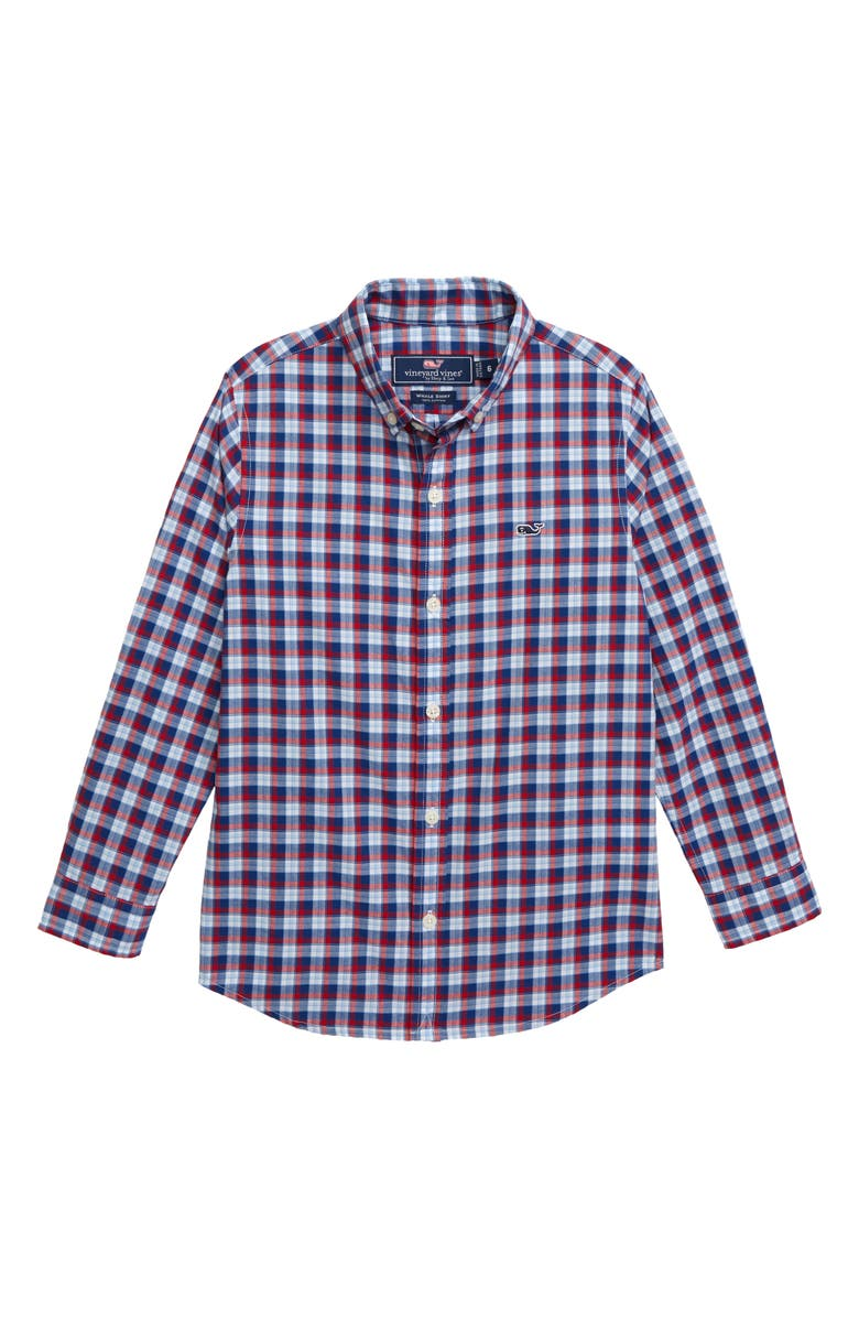 VINEYARD VINES Plaid Whale Woven Shirt, Main, color, LIGHTHOUSE RED