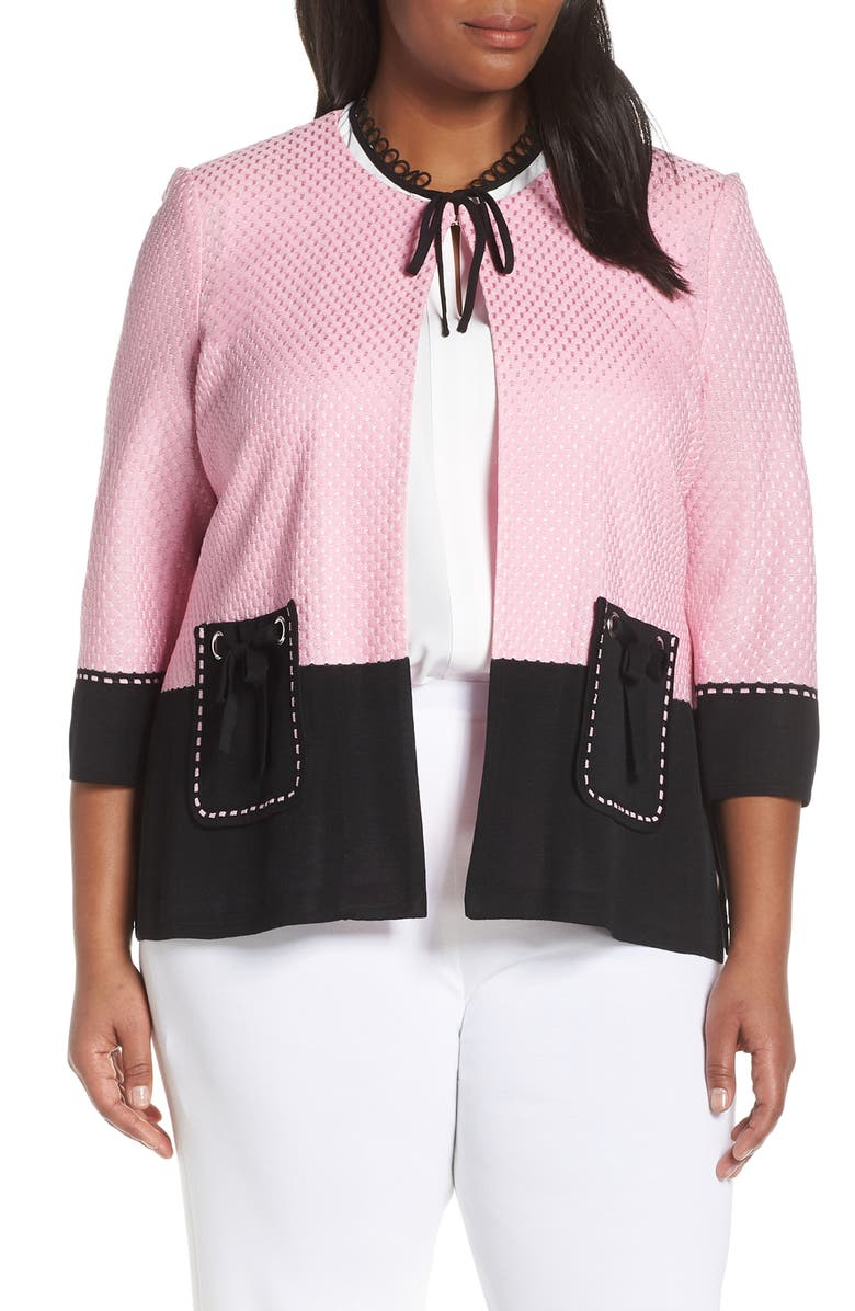 MING WANG Colorblock Knit Jacket, Main, color, BUBBLEGUM/ BLACK