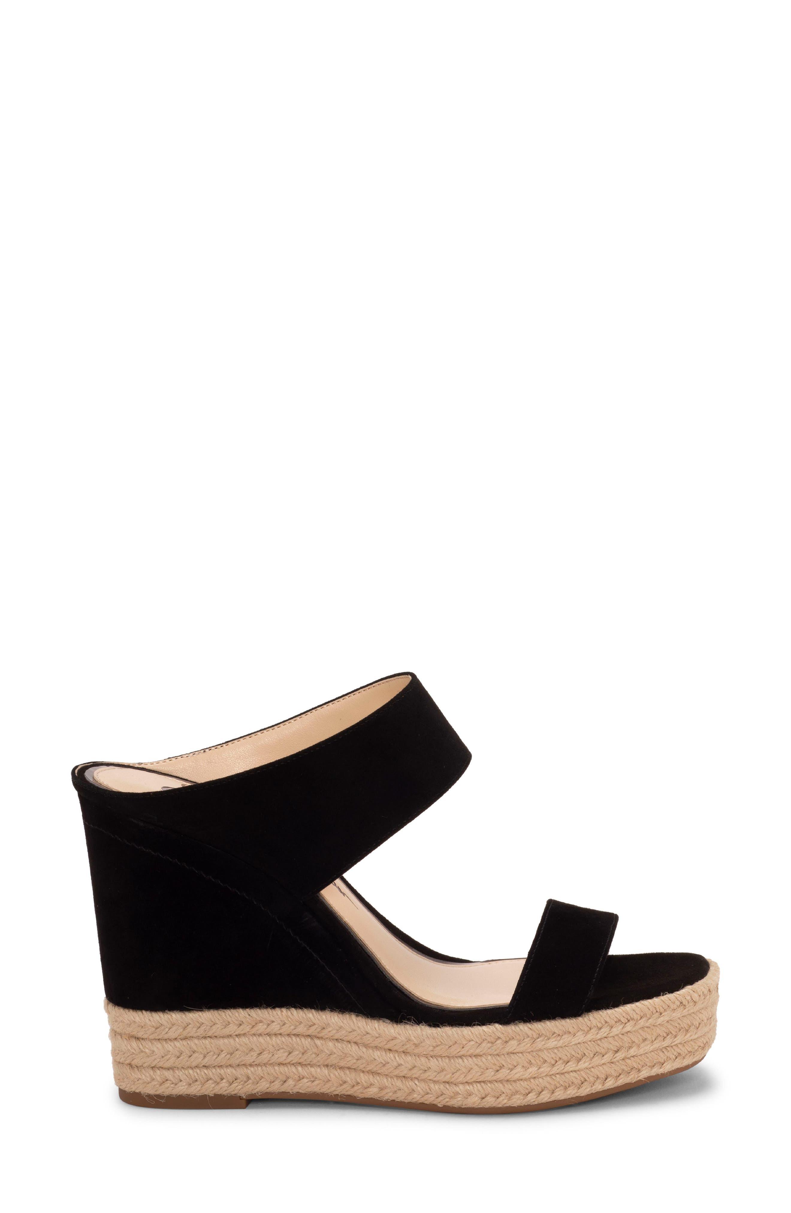 ,                             Siera Espadrille Wedge Slide Sandal,                             Alternate thumbnail 3, color,                             BLACK