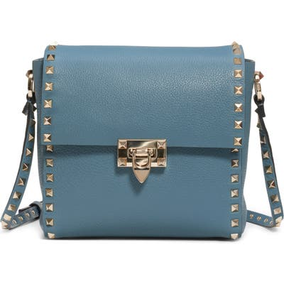 Valentino Garavani Rockstud Leather Shoulder Bag - Blue