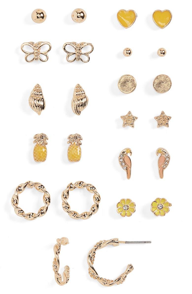 BP. Set of 12 Stud Earrings, Main, color, YELLOW- GOLD