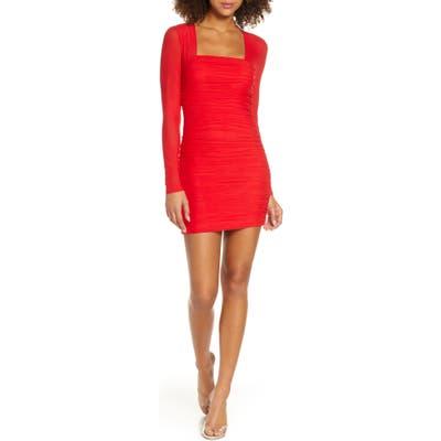 Bardot Tasha Long Sleeve Body-Con Dress, Red