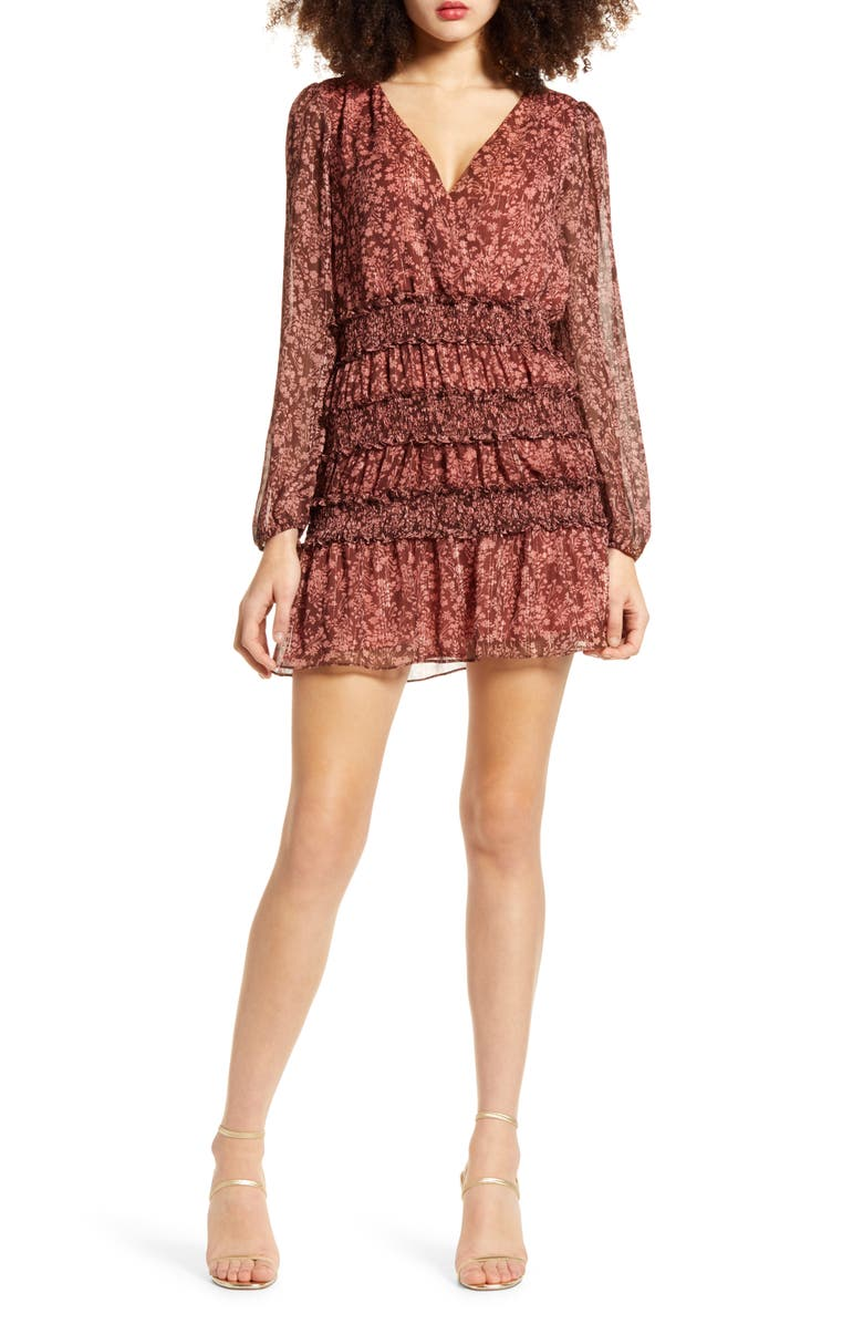 SOCIALITE Long Sleeve Floral Print Minidress, Main, color, BROWN ROSE