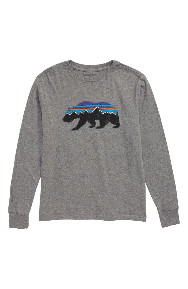 PATAGONIA Long Sleeve Graphic T-Shirt, Main, color, FITZ ROY BEAR/ GRAVEL HEATHER
