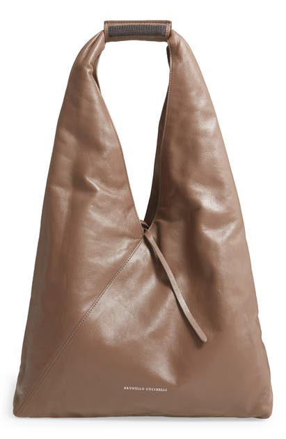 Brunello Cucinelli MONILI EMBELLISHED LEATHER HOBO BAG