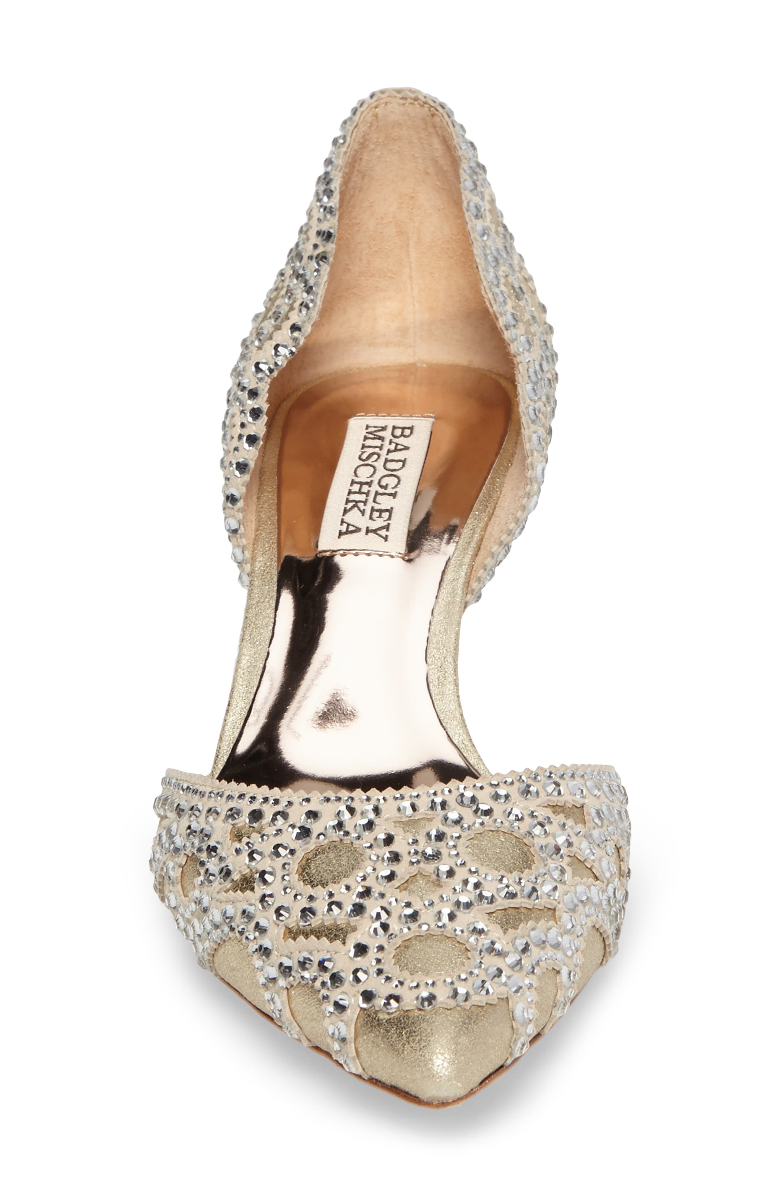 ,                             Badgley Mischka 'Ginny' Embellished d'Orsay Pump,                             Alternate thumbnail 4, color,                             PLATINO METALLIC SUEDE