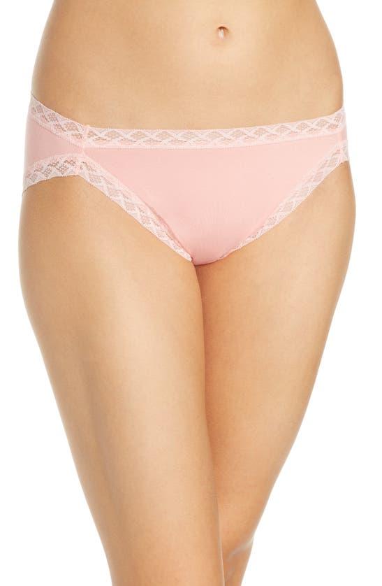 Natori Bliss Lace-trim Cotton French-cut Brief Underwear 152058 In Peach Pink