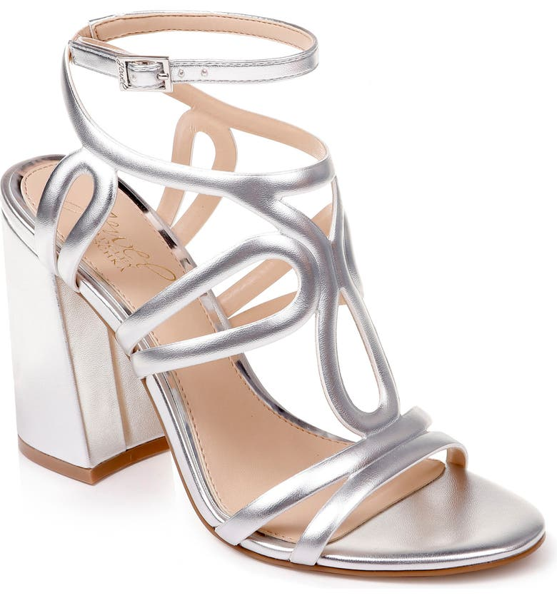 JEWEL BADGLEY MISCHKA Shari Metallic Strappy Sandal, Main, color, SILVER METALLIC LEATHER