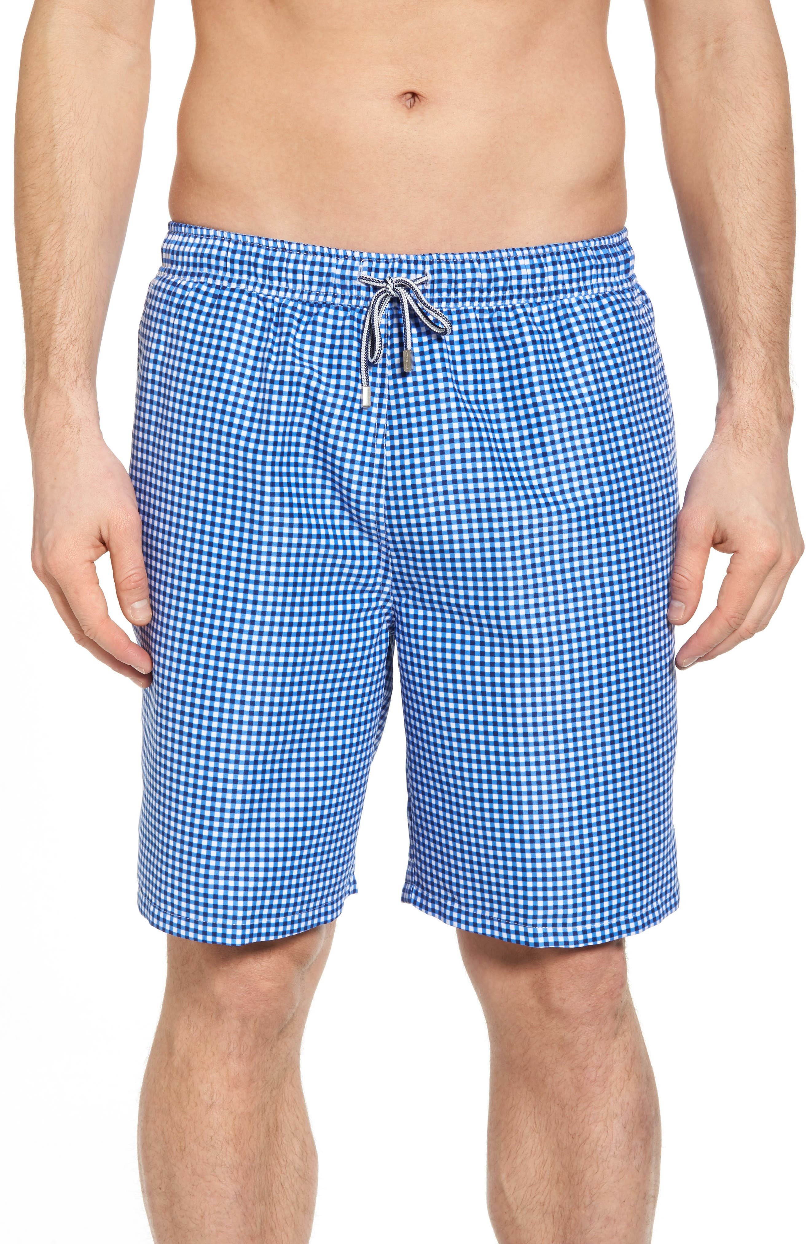 Gingham Style Swim Trunks, Main, color, ATLANTIC BLUE