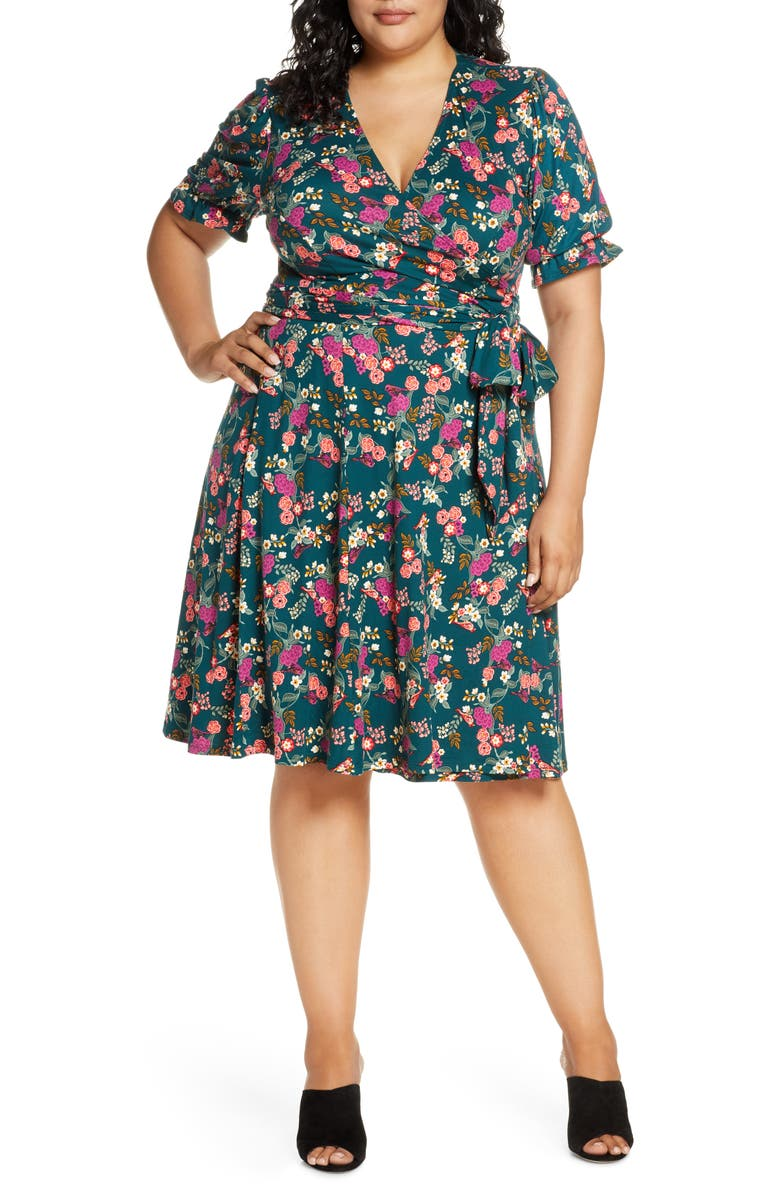 KIYONNA Tuscan Floral Wrap Dress, Main, color, GREEN SONGBIRD PRINT