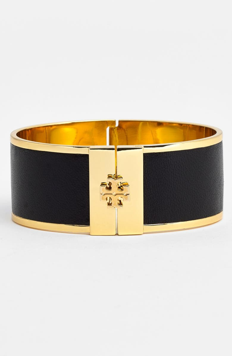 TORY BURCH 'Skinny' Leather Inlay Bracelet, Main, color, 001
