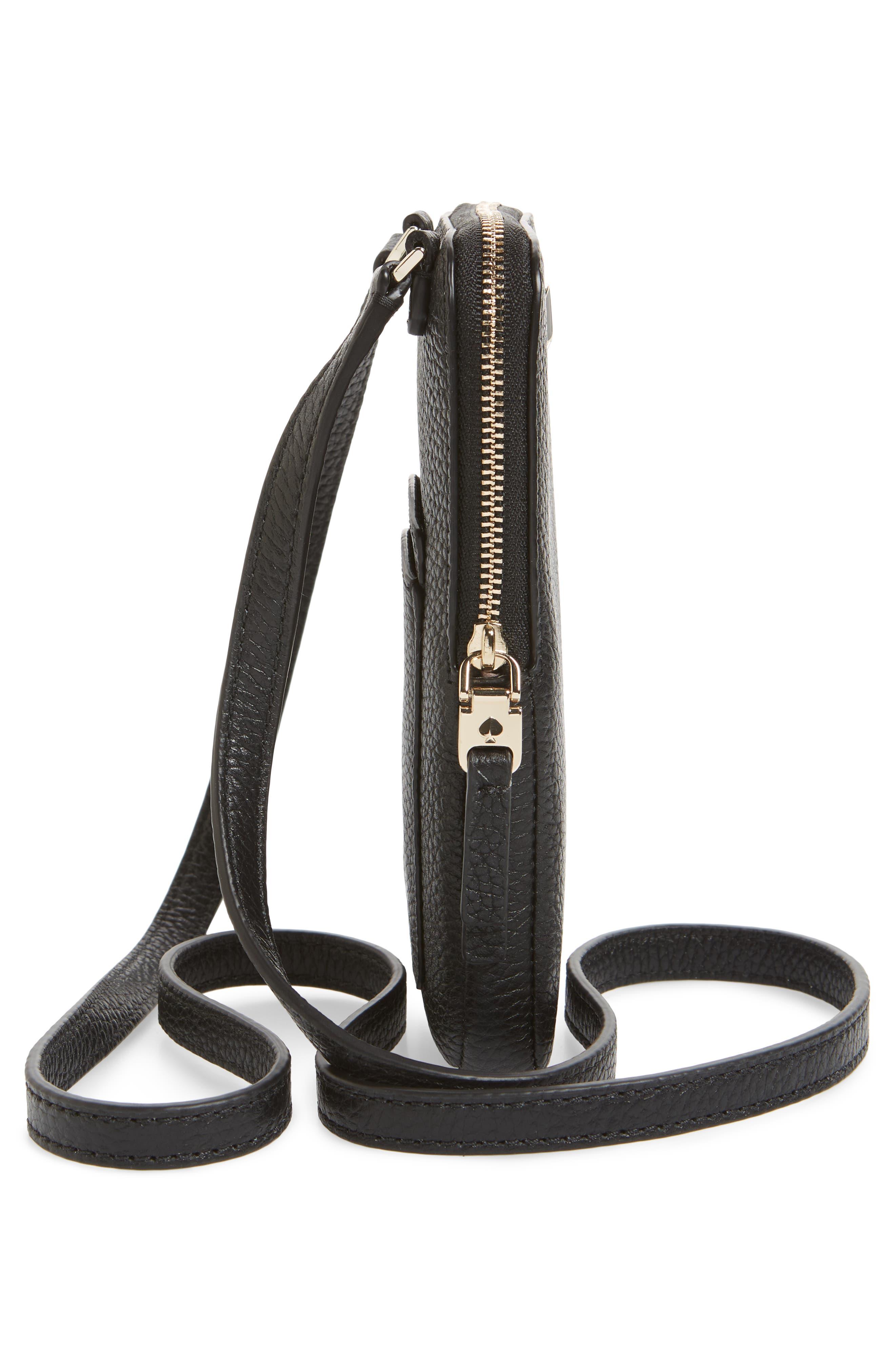 ,                             polly leather phone crossbody bag,                             Alternate thumbnail 6, color,                             BLACK