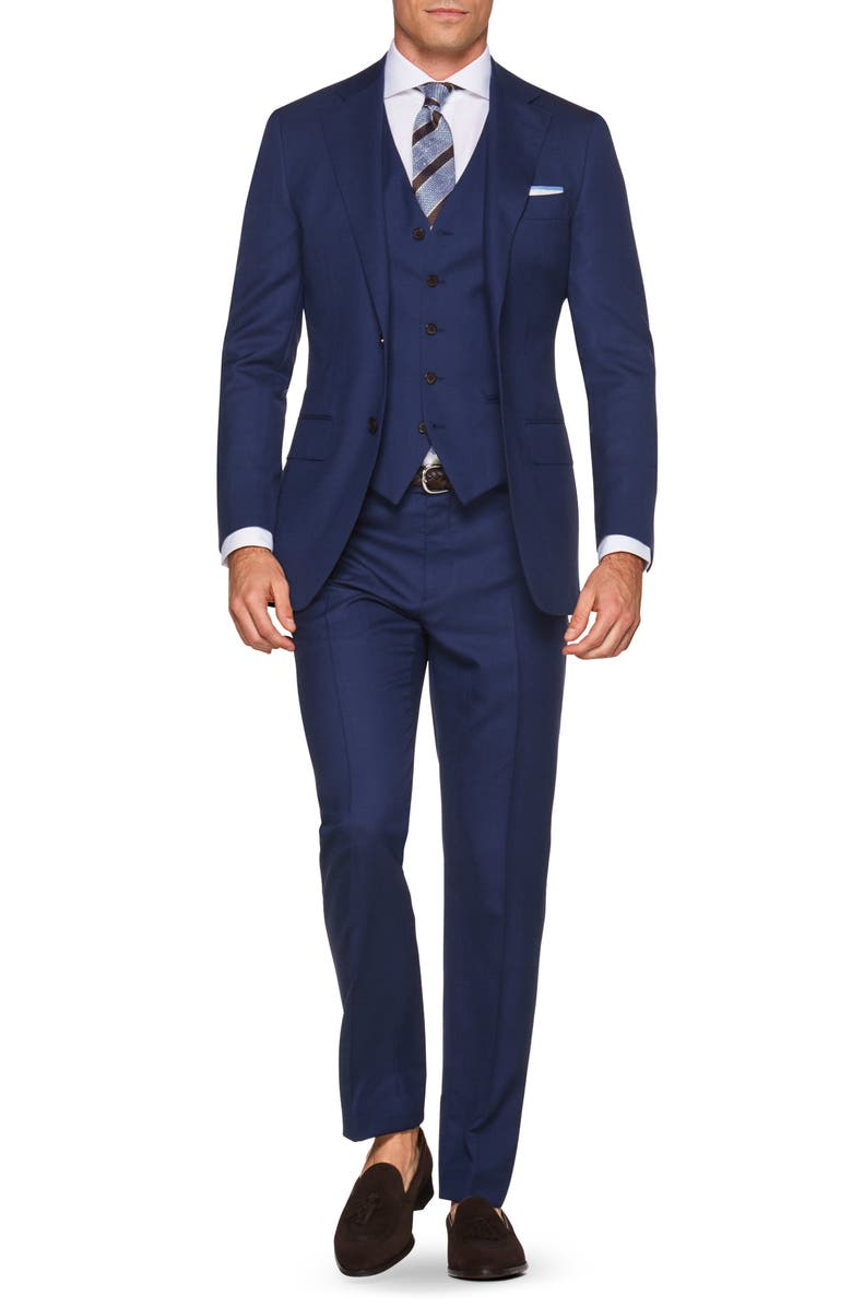 SUITSUPPLY Lazio Slim Fit Solid Wool Three Piece Suit, Main, color, BLUE