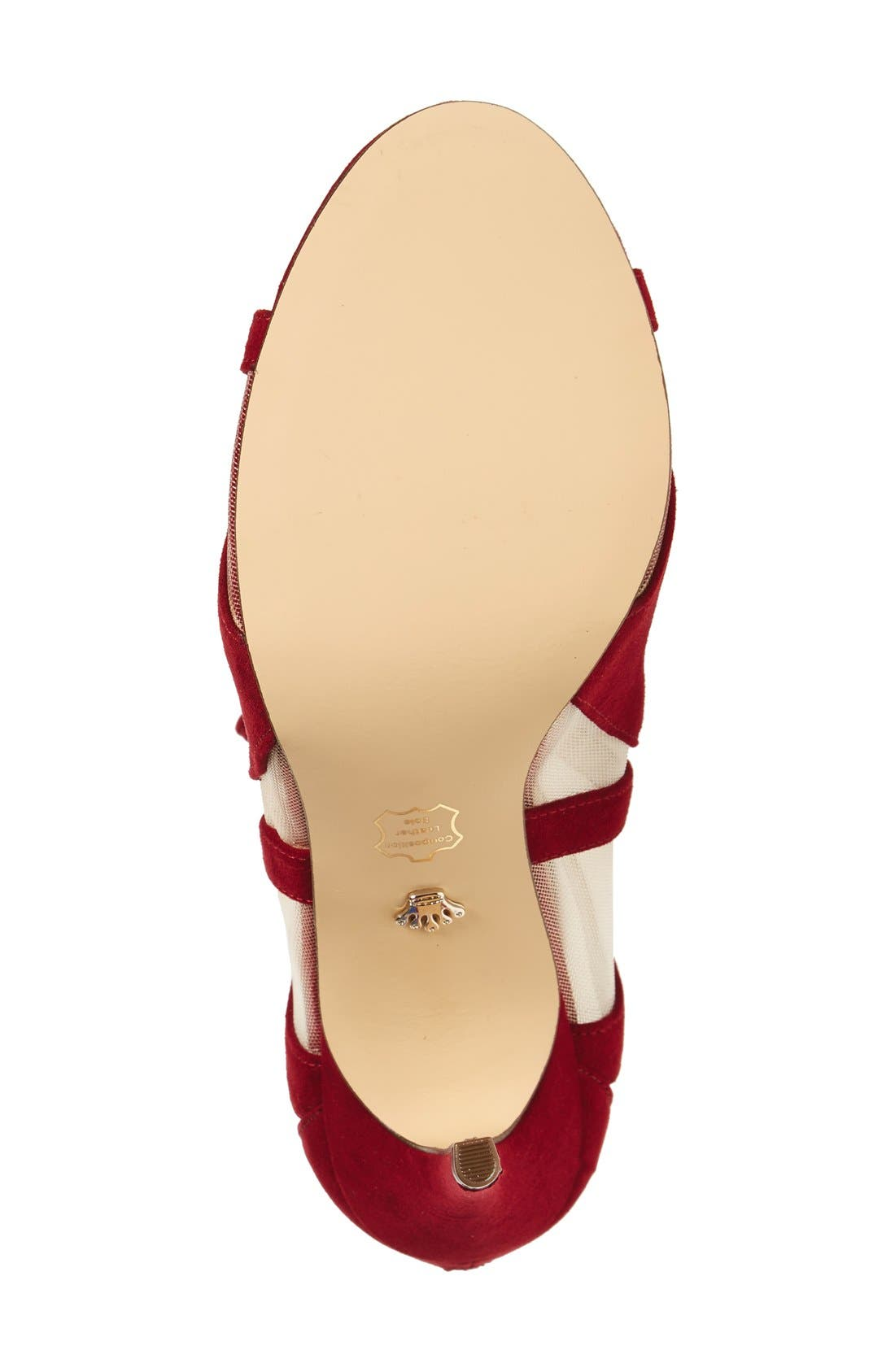 ,                             Cherie Illusion Sandal,                             Alternate thumbnail 4, color,                             CRANBERRY SUEDE