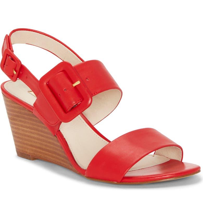 LOUISE ET CIE Putnam Wedge Sandal, Main, color, RED LEATHER