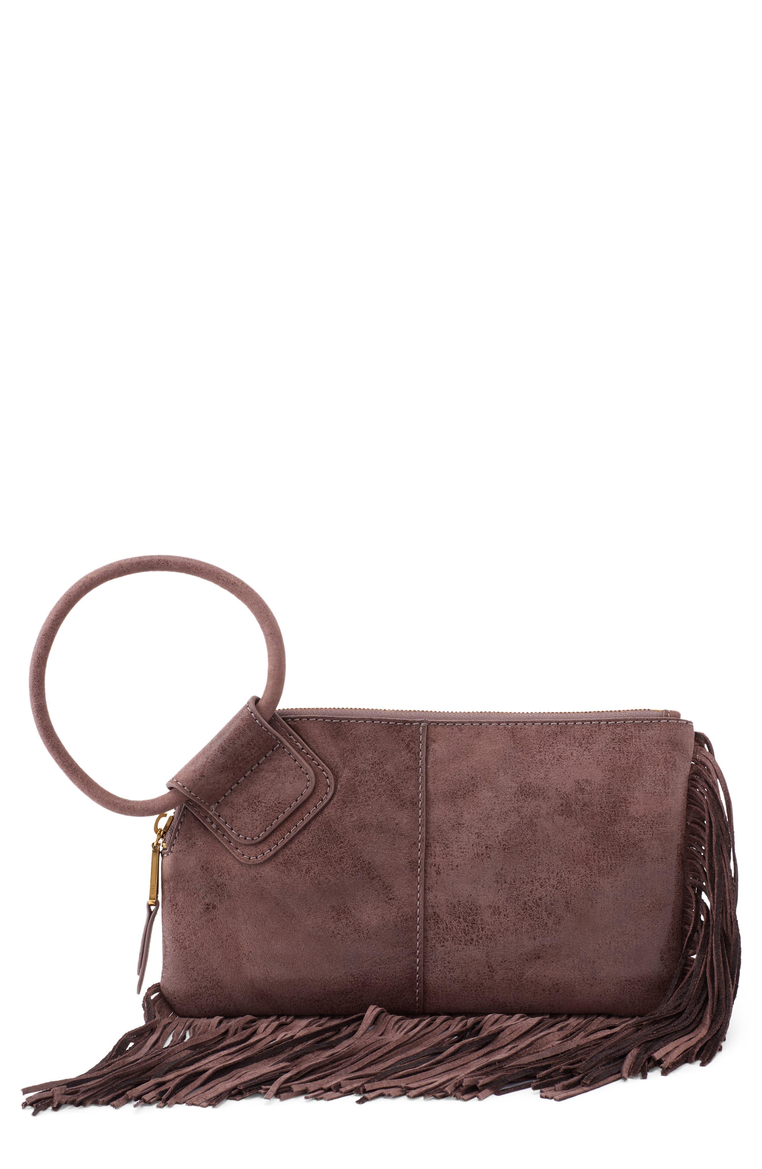 Sable Fringe Leather Wristlet Clutch