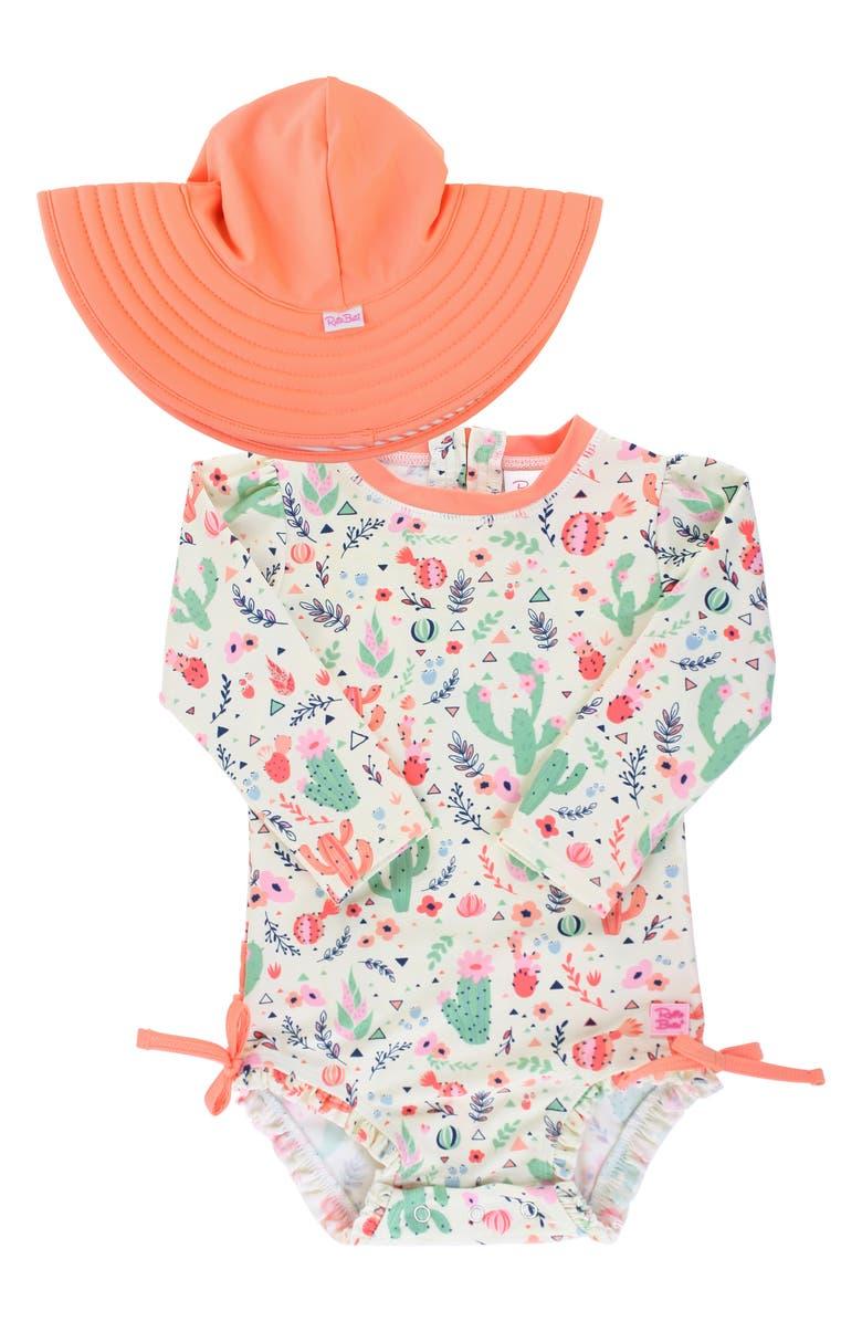 RUFFLEBUTTS Coral One-Piece Rashguard Swimsuit & Reversible Hat Swim Set, Main, color, 800