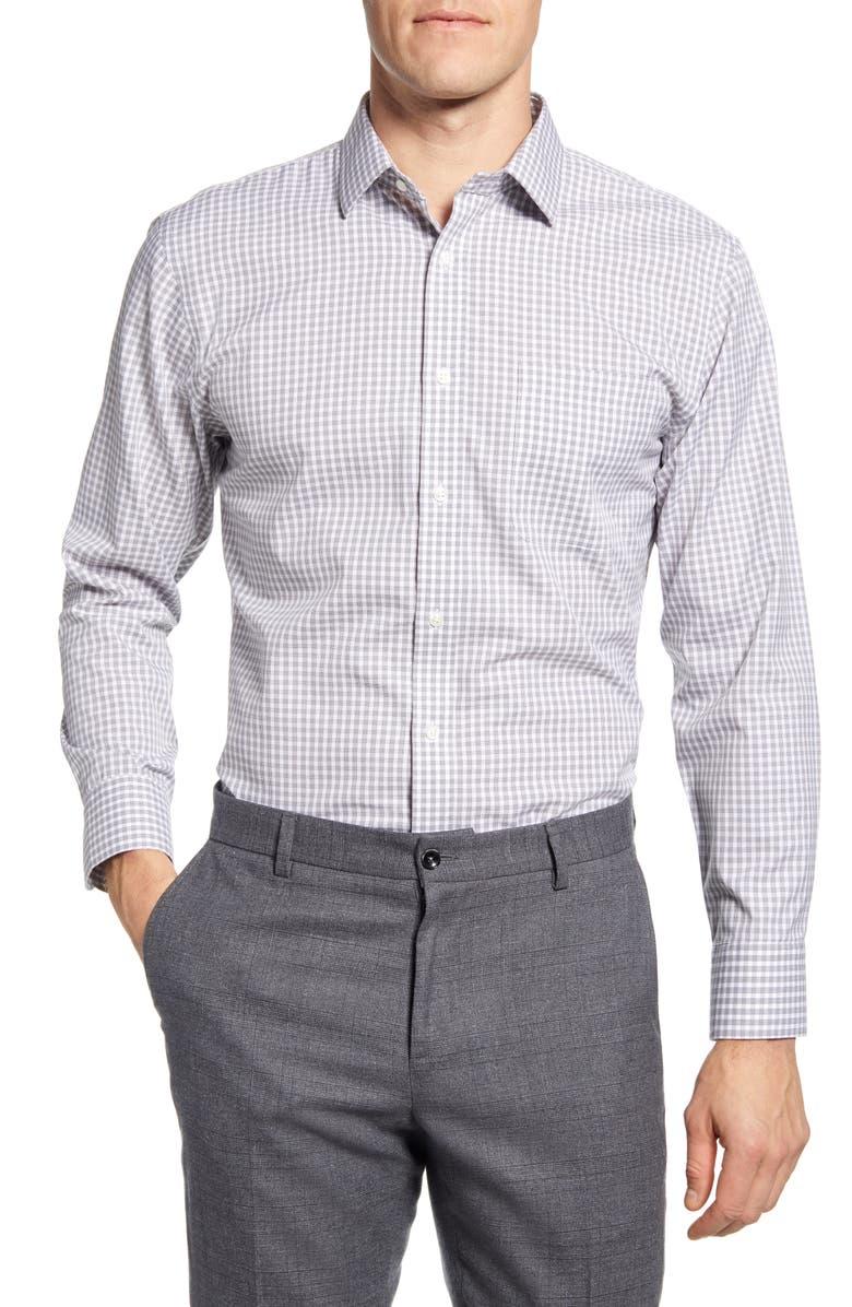 NORDSTROM MEN'S SHOP Smartcare<sup>™</sup> Trim Fit Check Dress Shirt, Main, color, GREY PAVEMENT