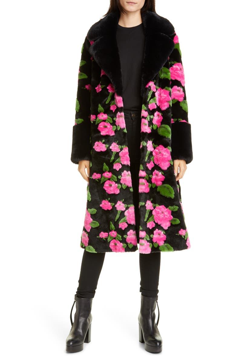 STAND STUDIO Liliana Flower Print Faux Fur Coat, Main, color, 600