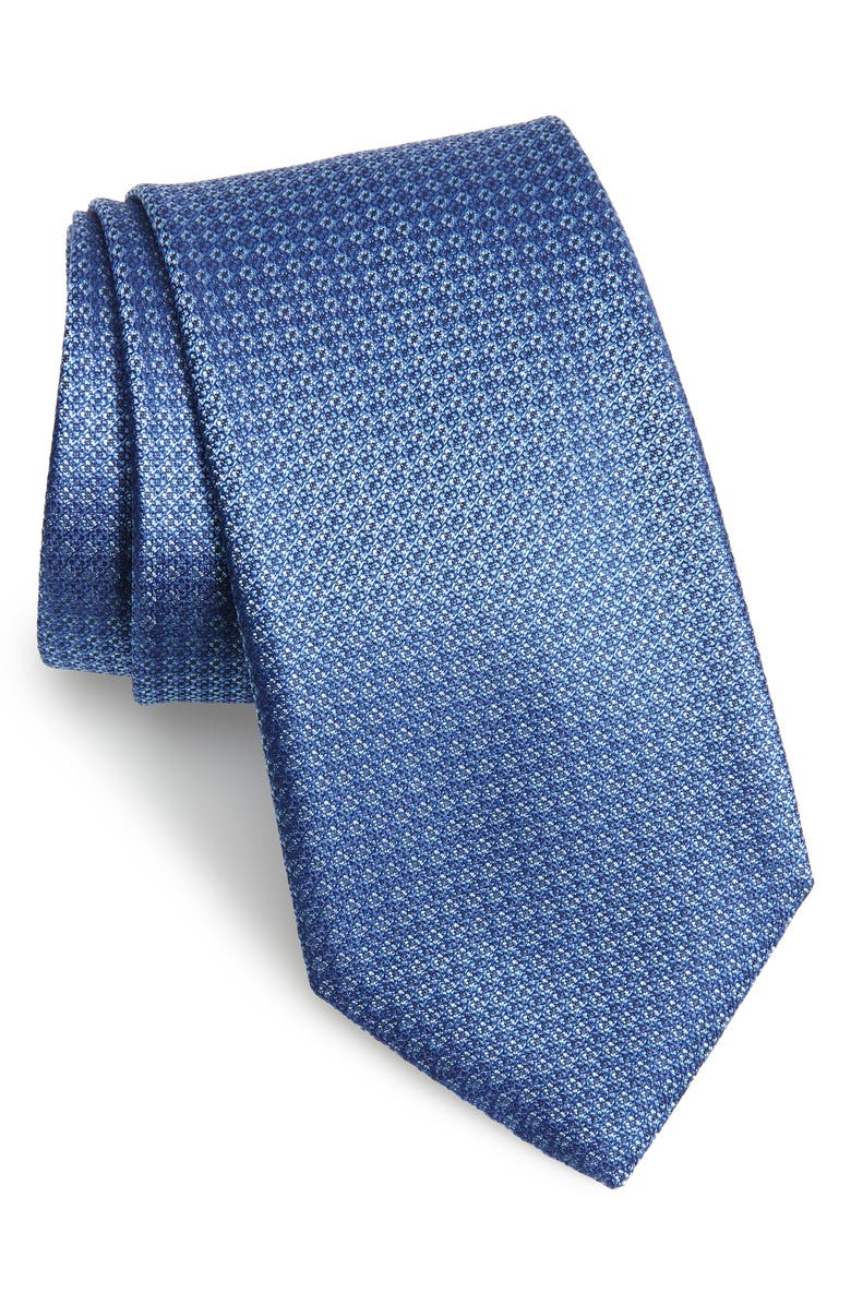 CANALI Geometric Silk Tie, Main, color, DARK BLUE