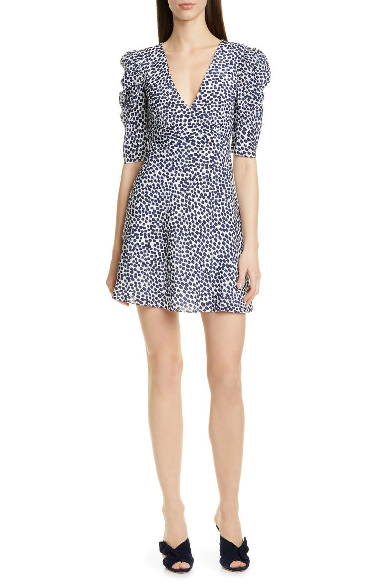 SALONI Colette Silk Minidress, Main, color, NAVY PAINTERLY