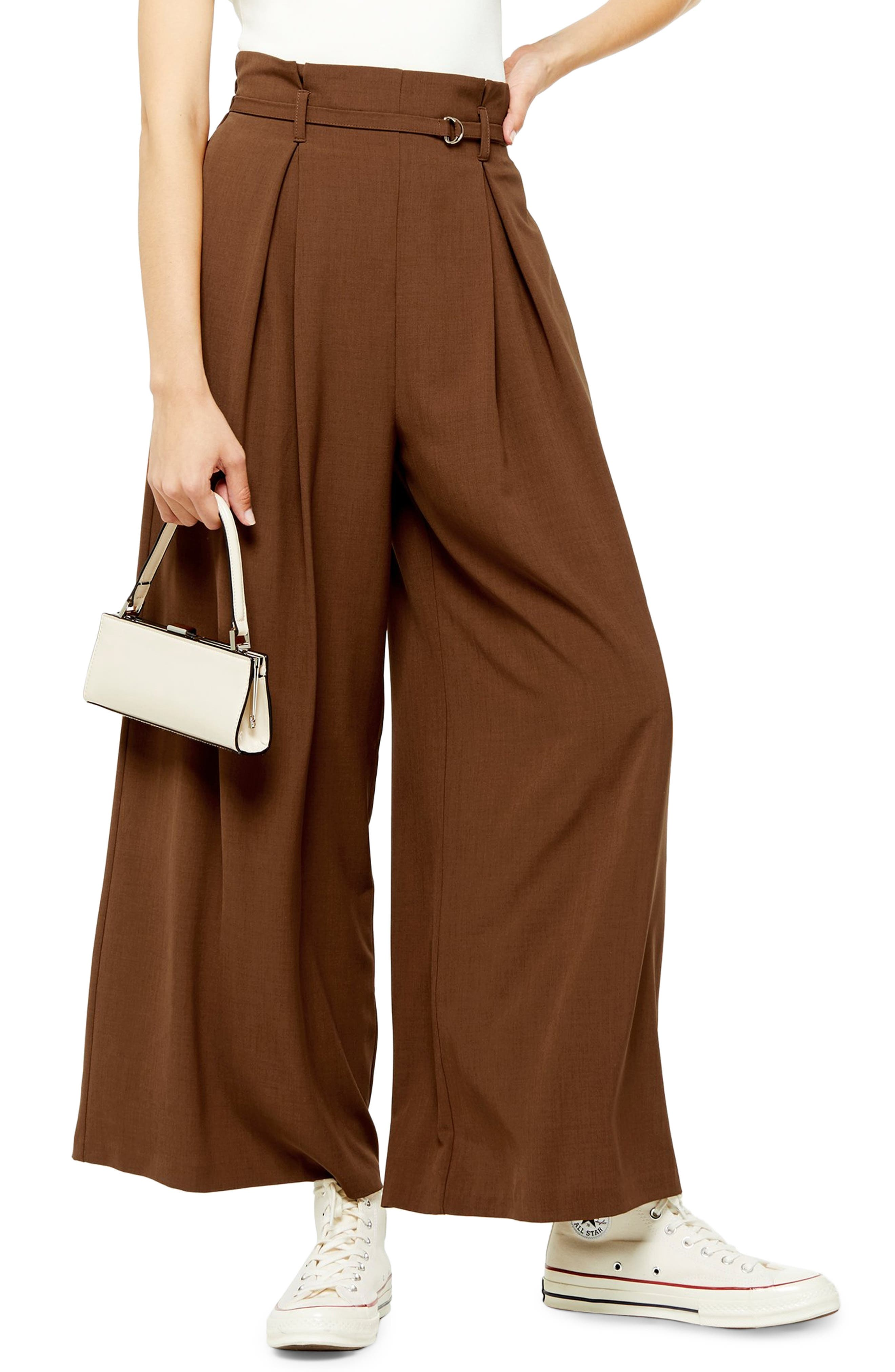1930s Wide Leg Pants and Beach Pajamas Womens Topshop Belted Wide Leg Trousers $90.00 AT vintagedancer.com