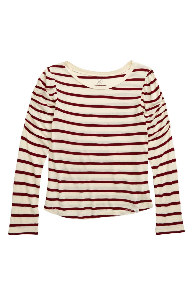 TREASURE & BOND Ruched Sleeve T-Shirt, Main, color, IVORY ANTIQUE- RED STRIPE