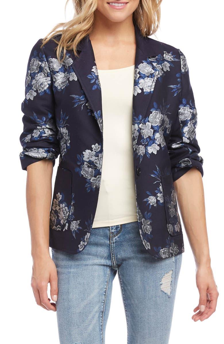 KAREN KANE Floral Jacquard Ruched Sleeve Jacket, Main, color, 410