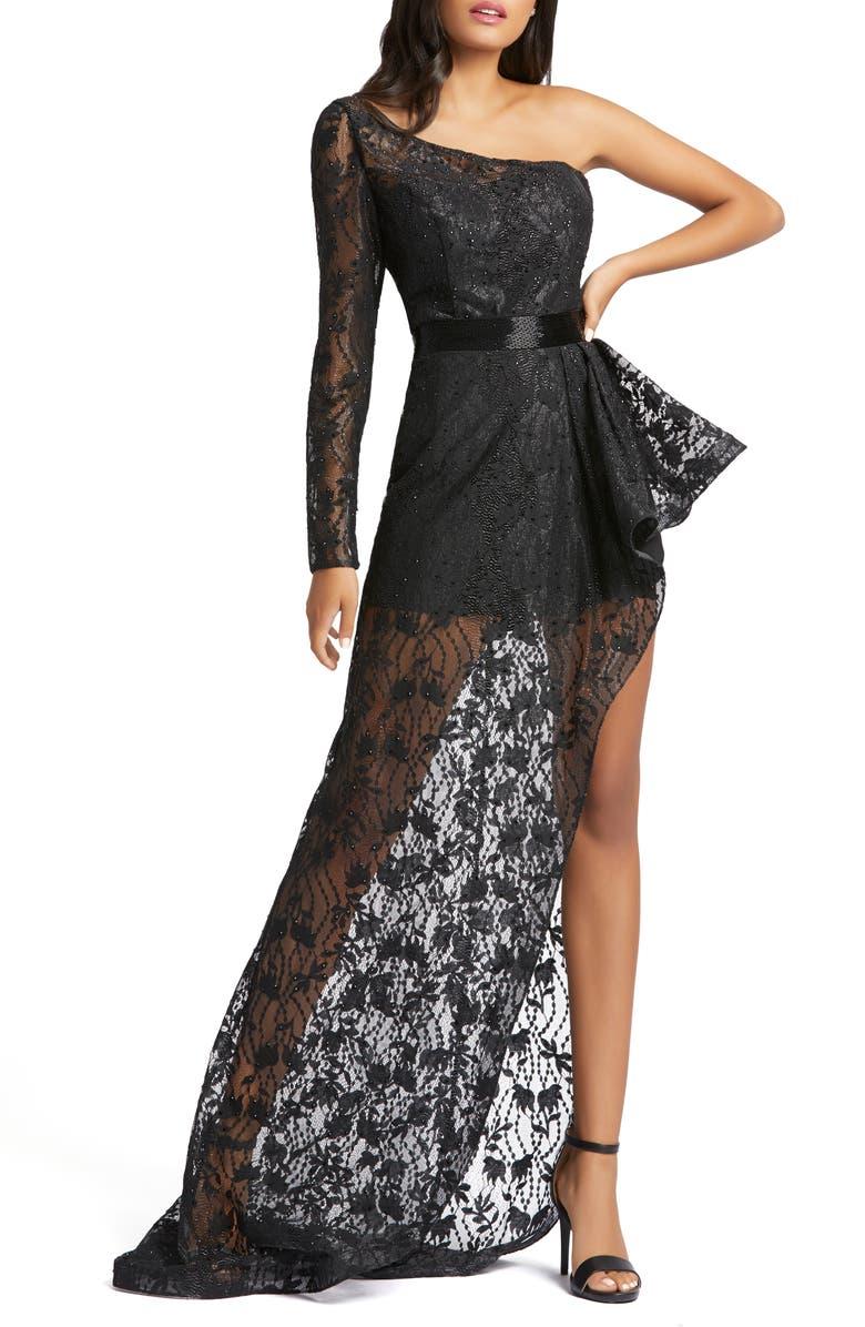 MAC DUGGAL One-Shoulder Asymmetrical Lace Gown, Main, color, BLACK