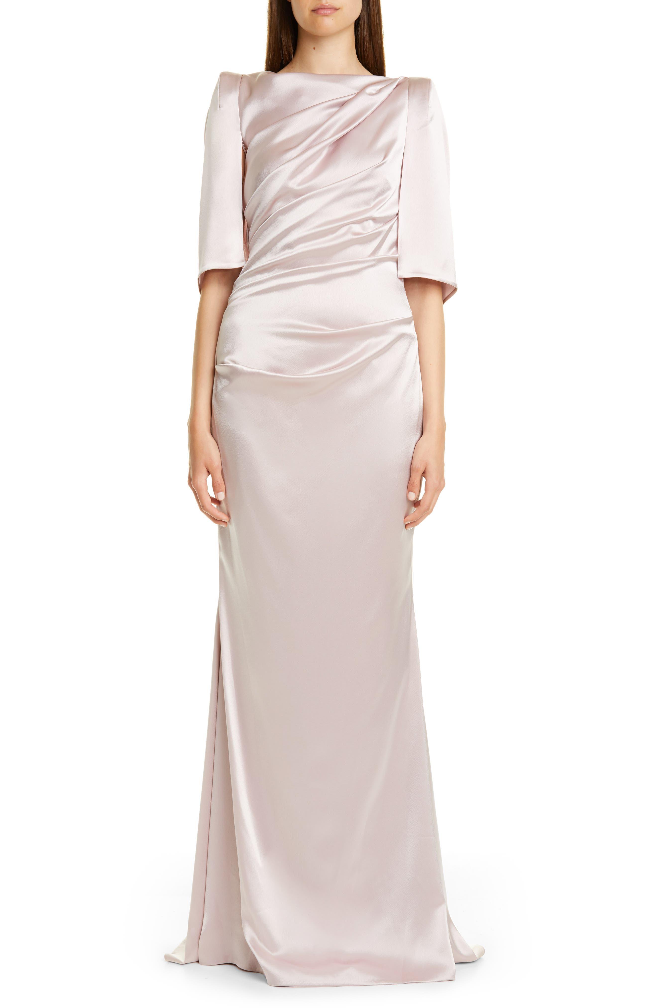 Talbot Runhof Ruched Satin Column Gown, Grey