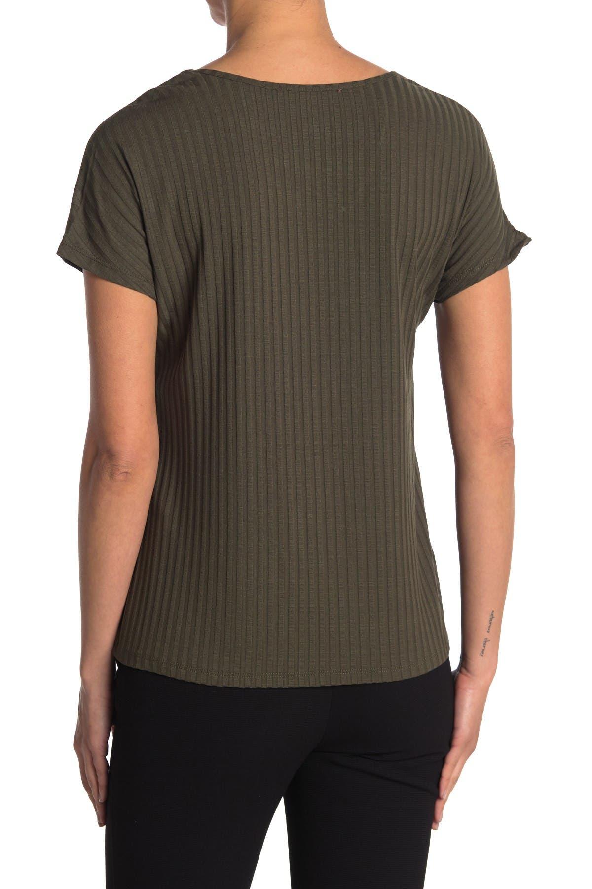 Image of Catherine Catherine Malandrino V-Neck Ribbed Boxy T-Shirt