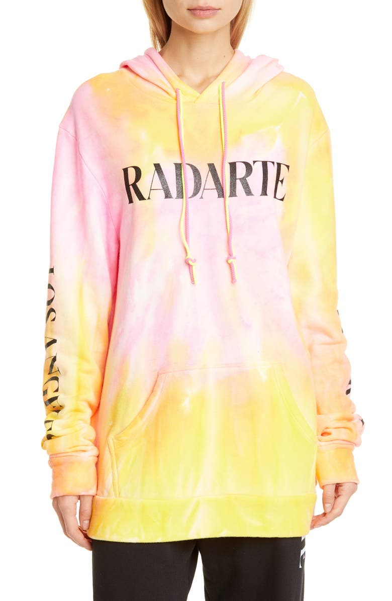 RODARTE Radarte Tie Dye Hoodie, Main, color, ORANGE/ PINK