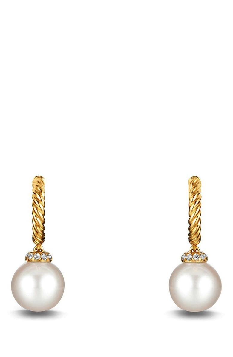 DAVID YURMAN Solari Hoop Earring with Diamonds and Pearls in 18K Gold, Main, color, PEARL