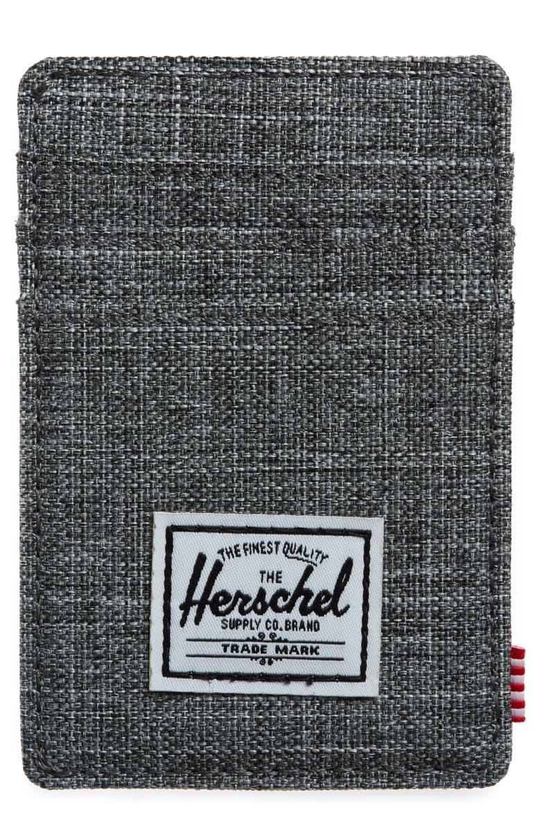 HERSCHEL SUPPLY CO. Raven RFID Money Clip Card Case, Main, color, RAVEN CROSSHATCH