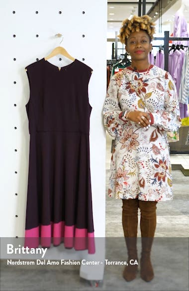 Contrast Hem Sleeveless Fit & Flare Midi Dress, sales video thumbnail