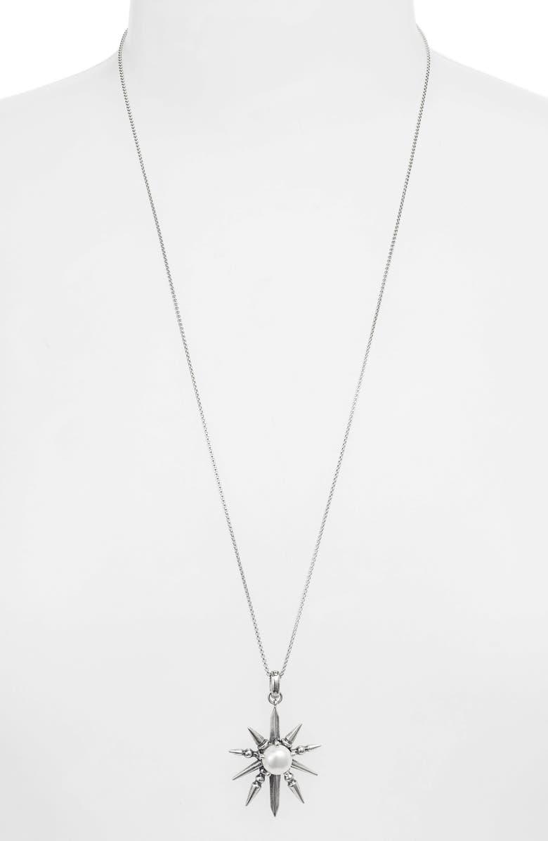 KENDRA SCOTT Sunburst Pendant Slider Necklace, Main, color, ANTIQUE SILVER/ PEARL
