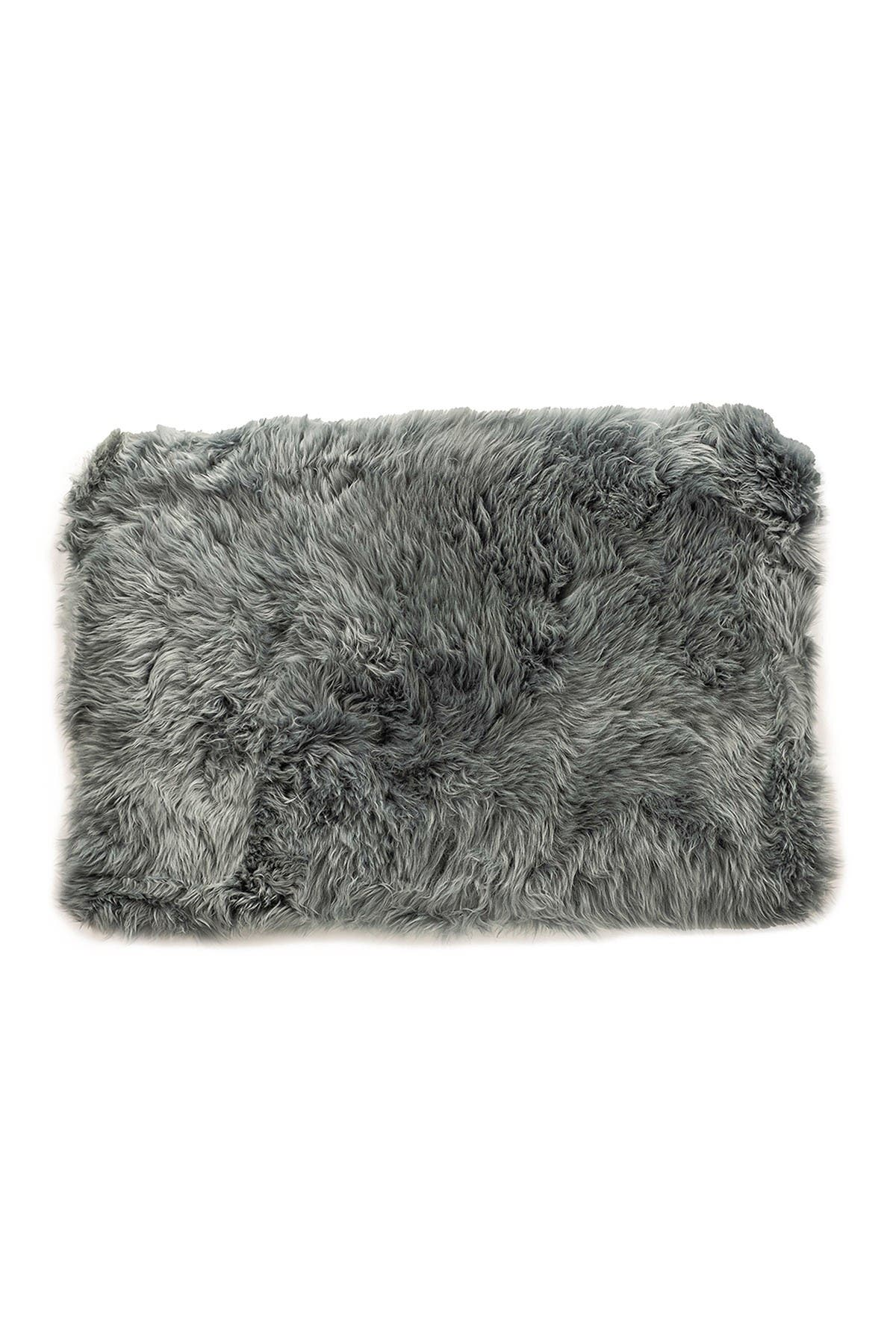 Image of Natural New Zealand Rectangular Sheepskin Throw - 2ft X 3ft - Grey