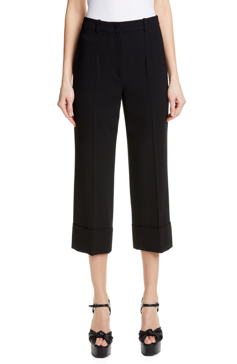 MICHAEL KORS COLLECTION Michael Kors Cuffed Crop Pants, Main, color, BLACK