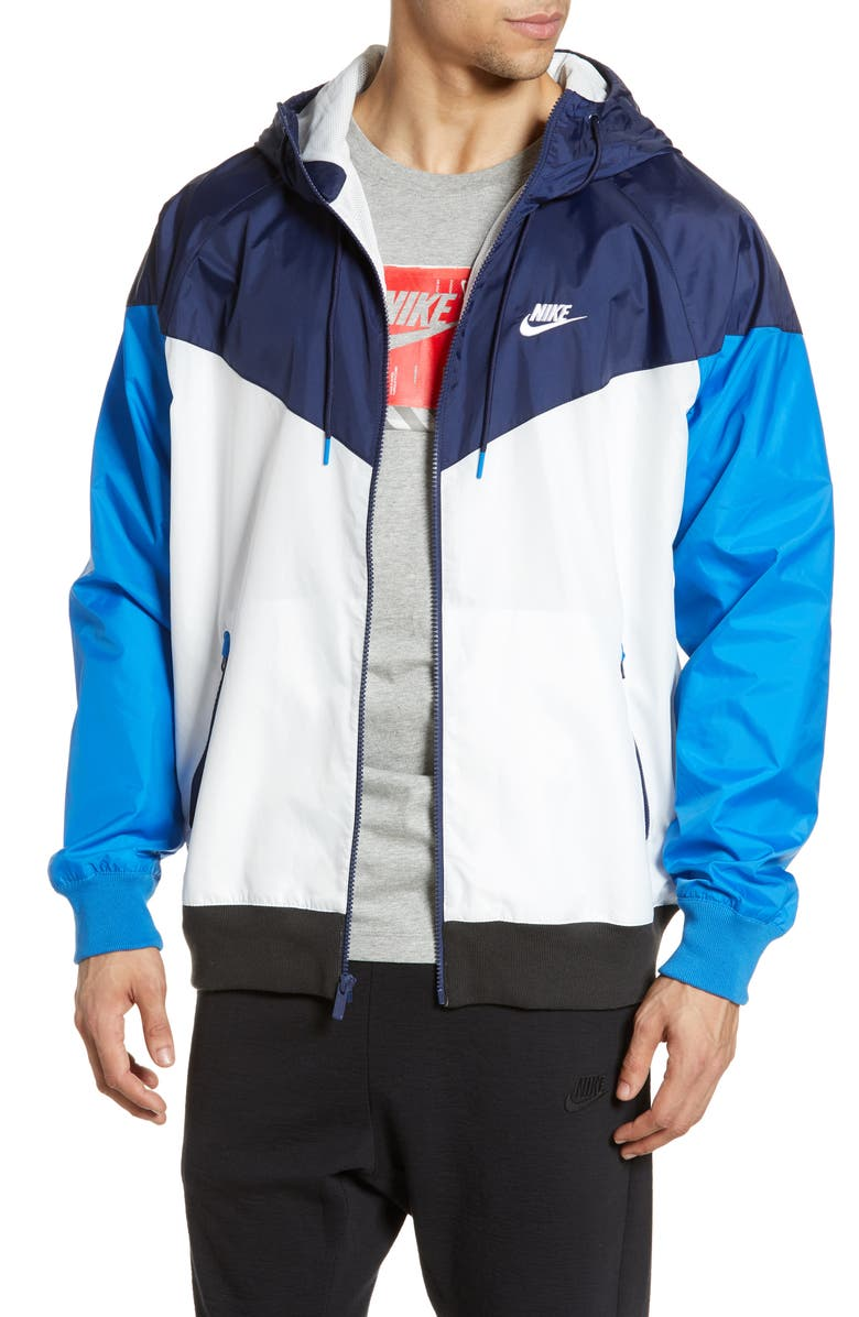 NIKE Sportswear Windrunner Jacket, Main, color, SUMMIT WHITE/ NAVY/ WHITE