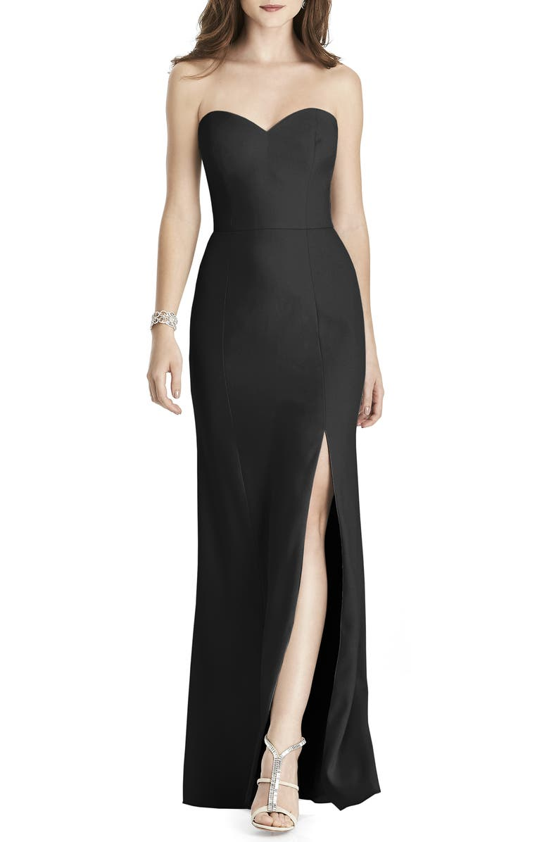 AFTER SIX Strapless Crepe Trumpet Gown, Main, color, BLACK